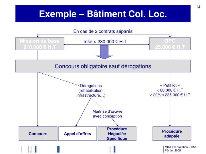 Exemple – Bâtiment Col. Loc.