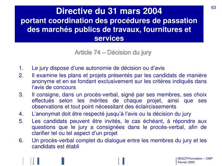 Directive du 31 mars 2004