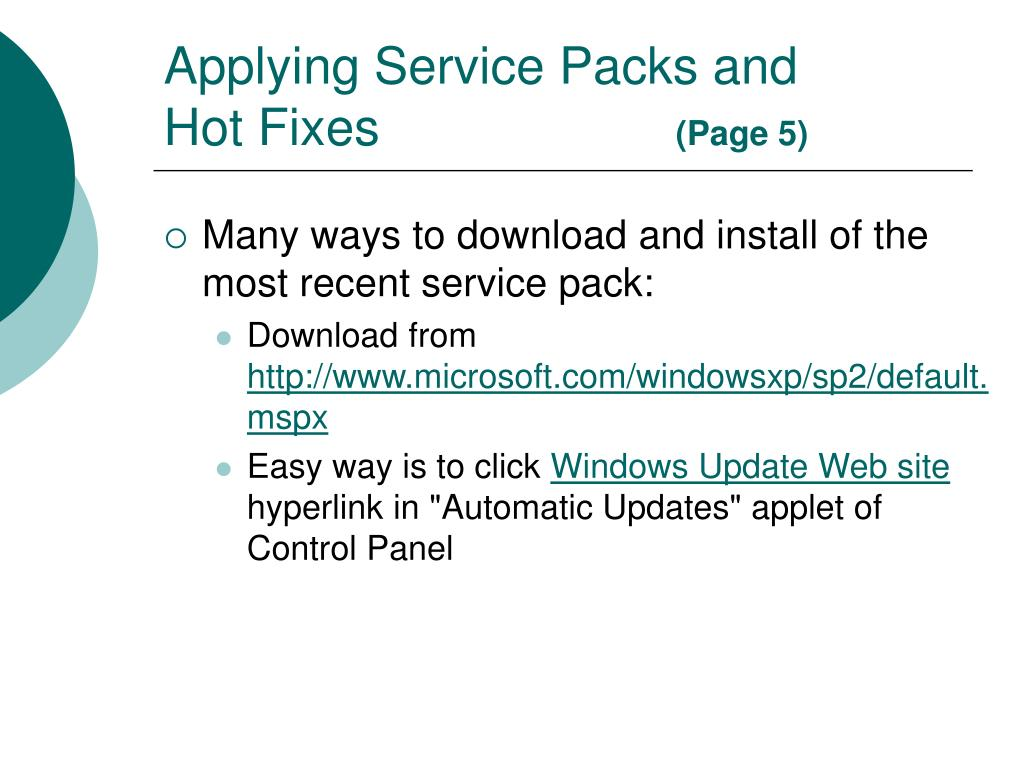 Applying Service Packs and Hot Fixes