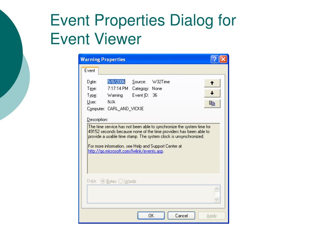 Event Properties Dialog for Event Viewer