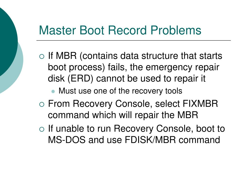 Master Boot Record Problems