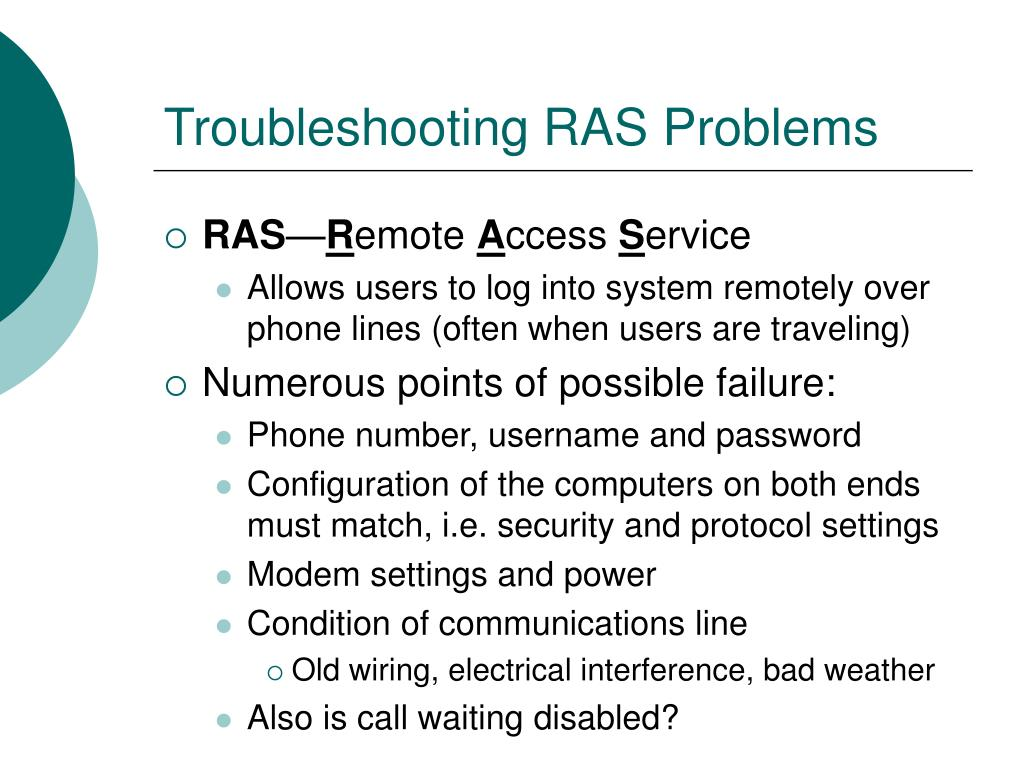 Troubleshooting RAS Problems