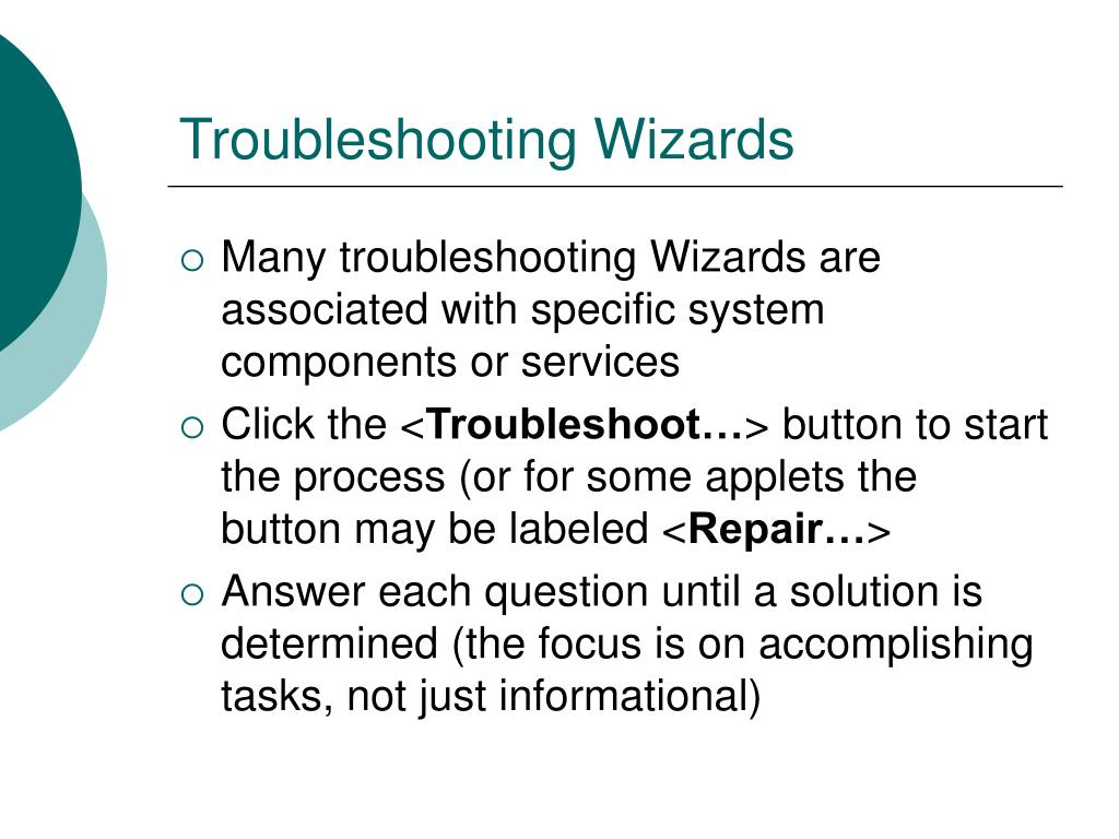 Troubleshooting Wizards