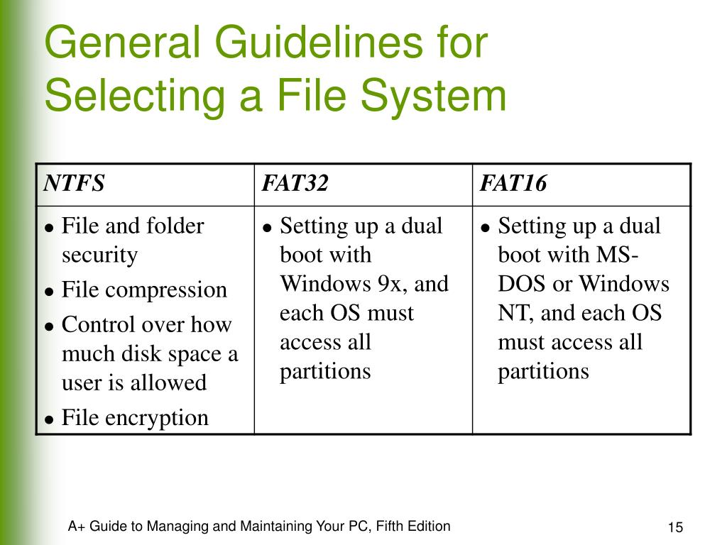 General Guidelines for Selecting a File System
