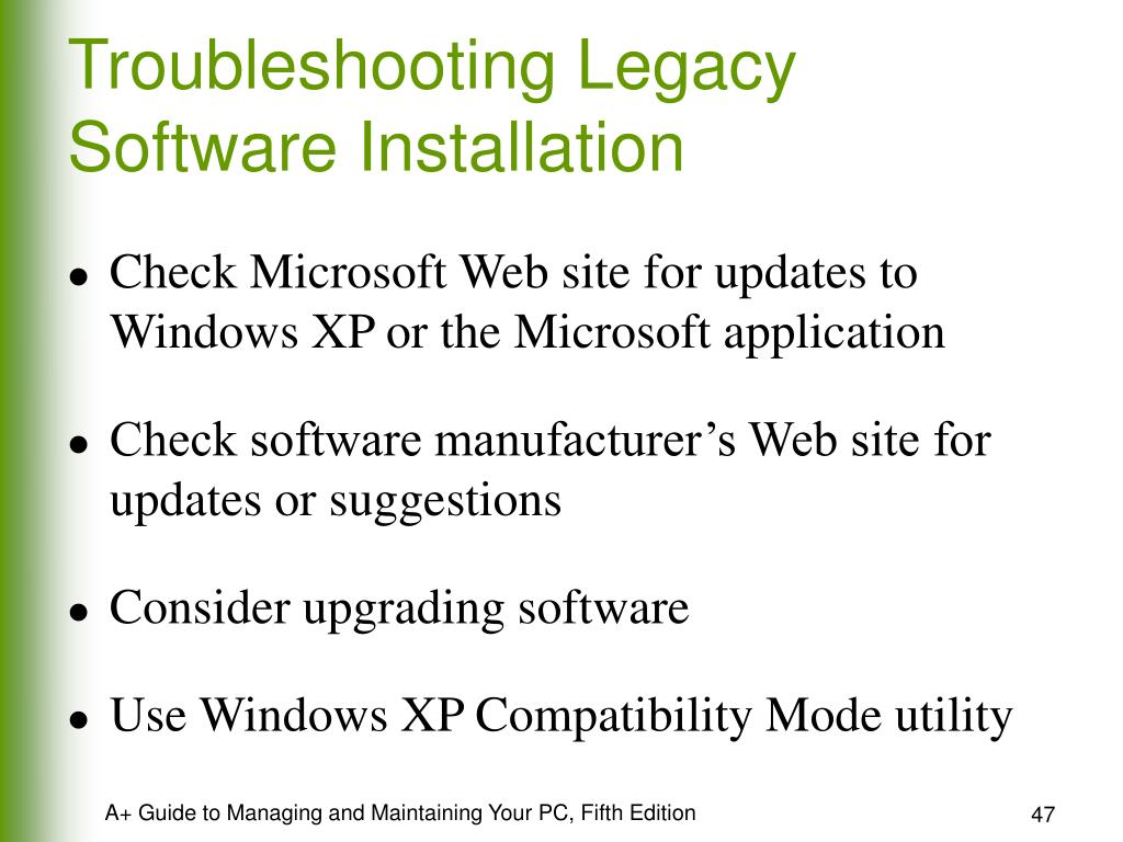 Troubleshooting Legacy Software Installation