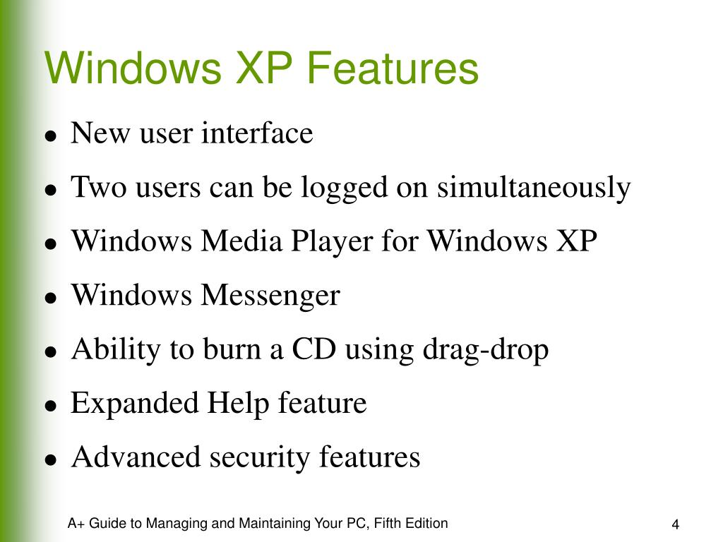 Windows XP Features