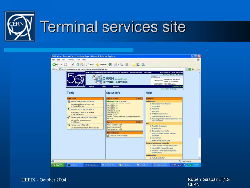 Terminal services site