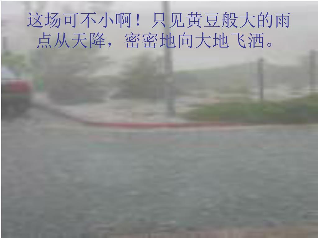 这场可不小啊!只见黄豆般大的雨点从天降,密密地向大地飞洒。
