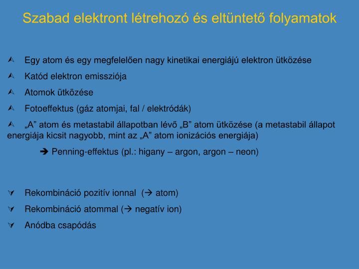 Szabad elektront létrehozó és eltüntető folyamatok