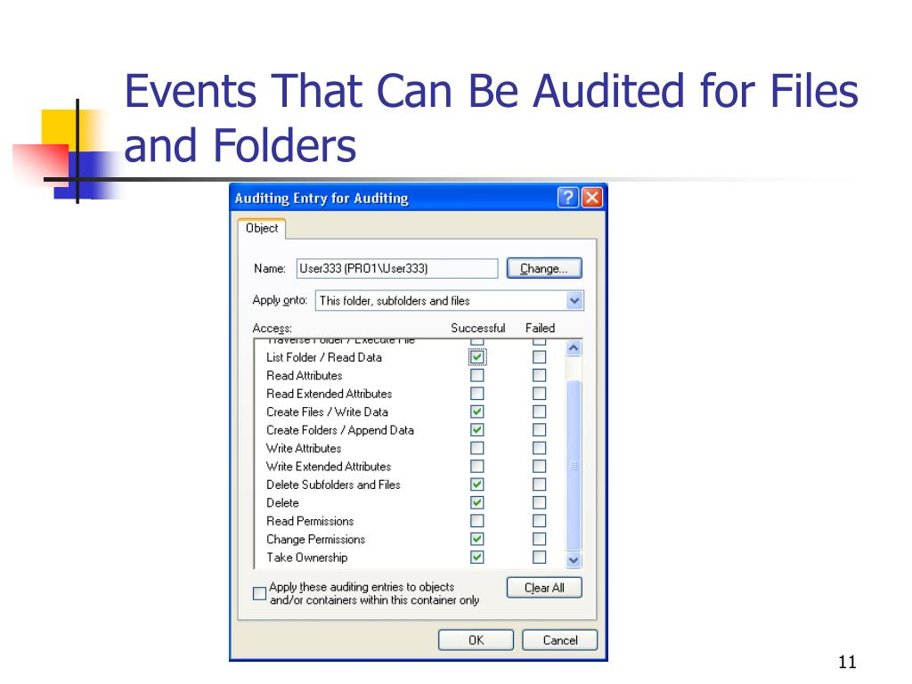Events That Can Be Audited for Files and Folders