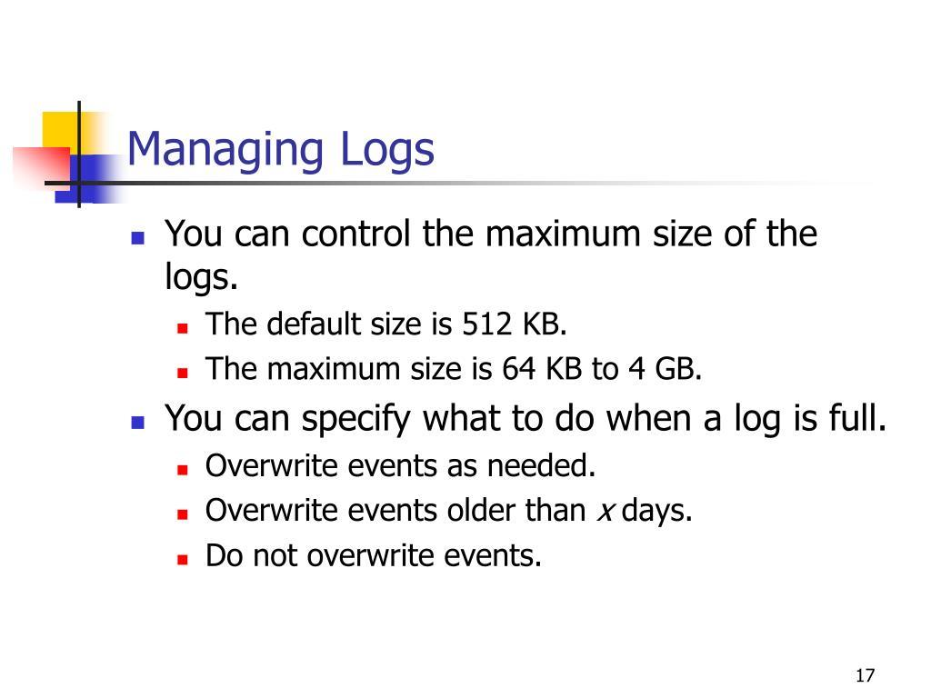 Managing Logs