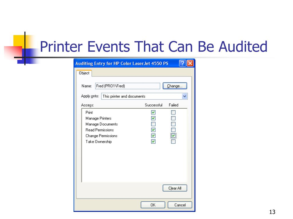 Printer Events That Can Be Audited