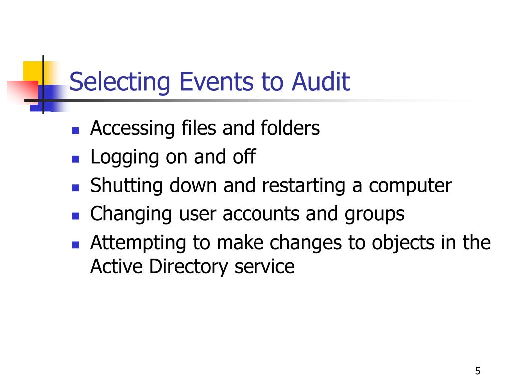 Selecting Events to Audit