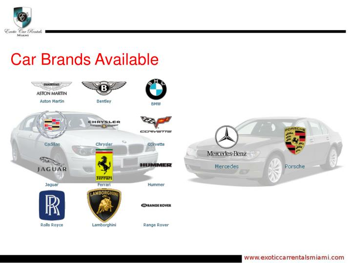Car Brands Available
