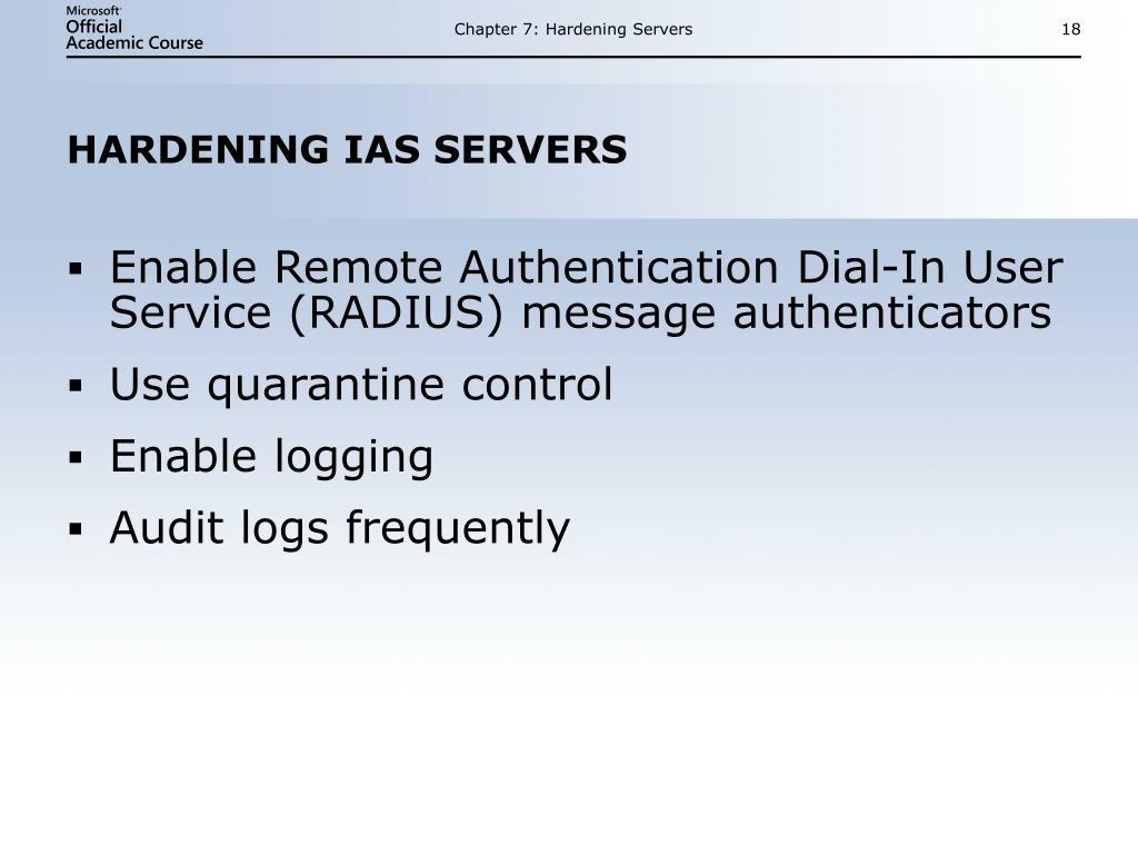 Chapter 7: Hardening Servers