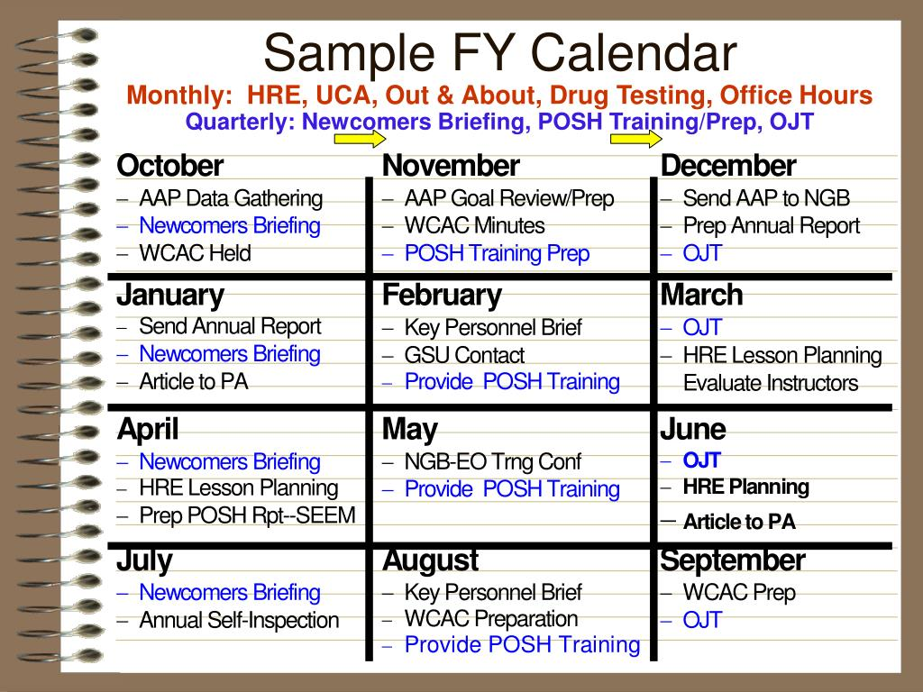 Sample FY Calendar