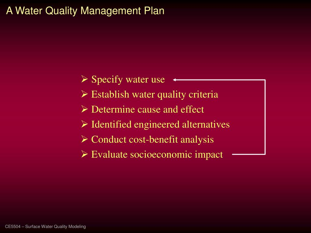 A Water Quality Management Plan