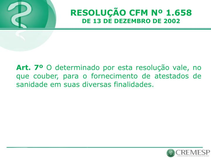 RESOLUÇÃO CFM Nº 1.658