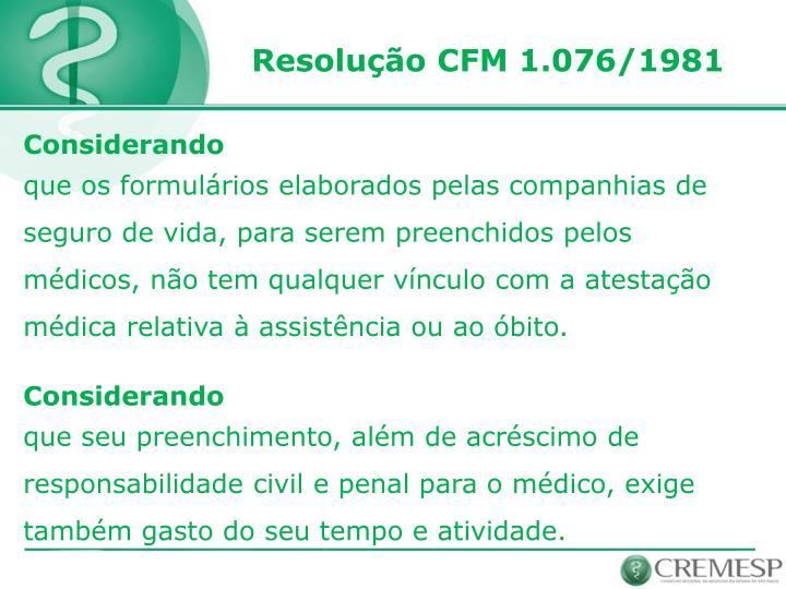 Resolução CFM 1.076/1981