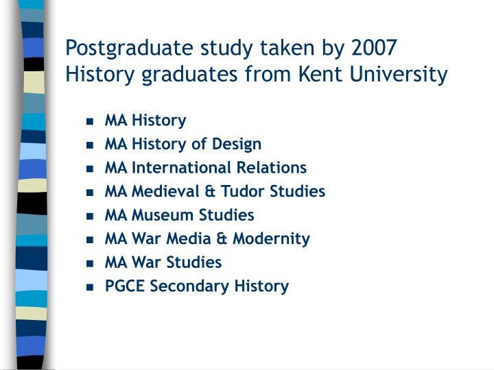 Postgraduate study taken by 2007 History graduates from Kent University