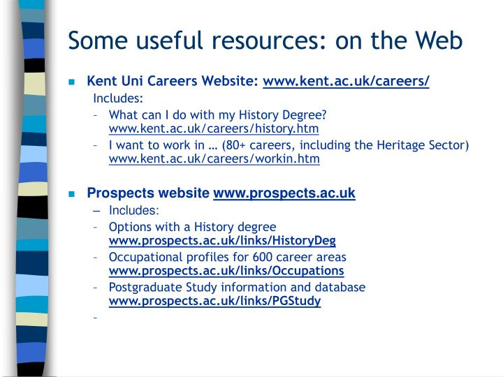 Some useful resources: on the Web