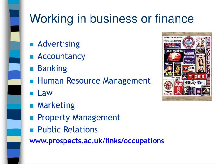 Working in business or finance