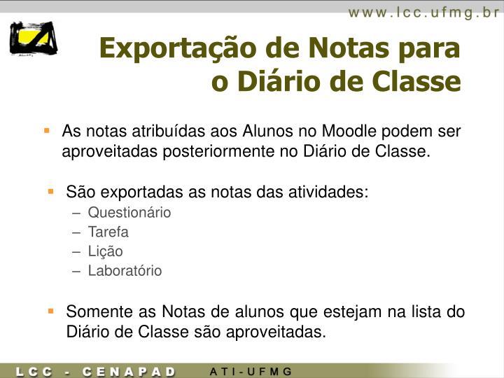 Exportação de Notas para o Diário de Classe