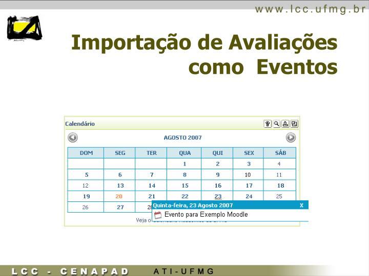 Importação de Avaliações como  Eventos