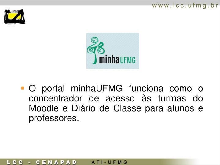 O portal minhaUFMG funciona como o concentrador de acesso às turmas do Moodle e Diário de Classe para alunos e professores.