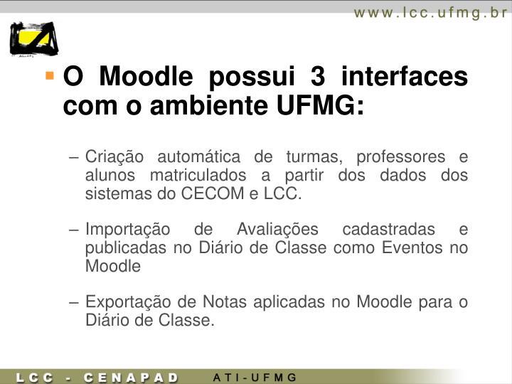 O Moodle possui 3 interfaces com o ambiente UFMG:
