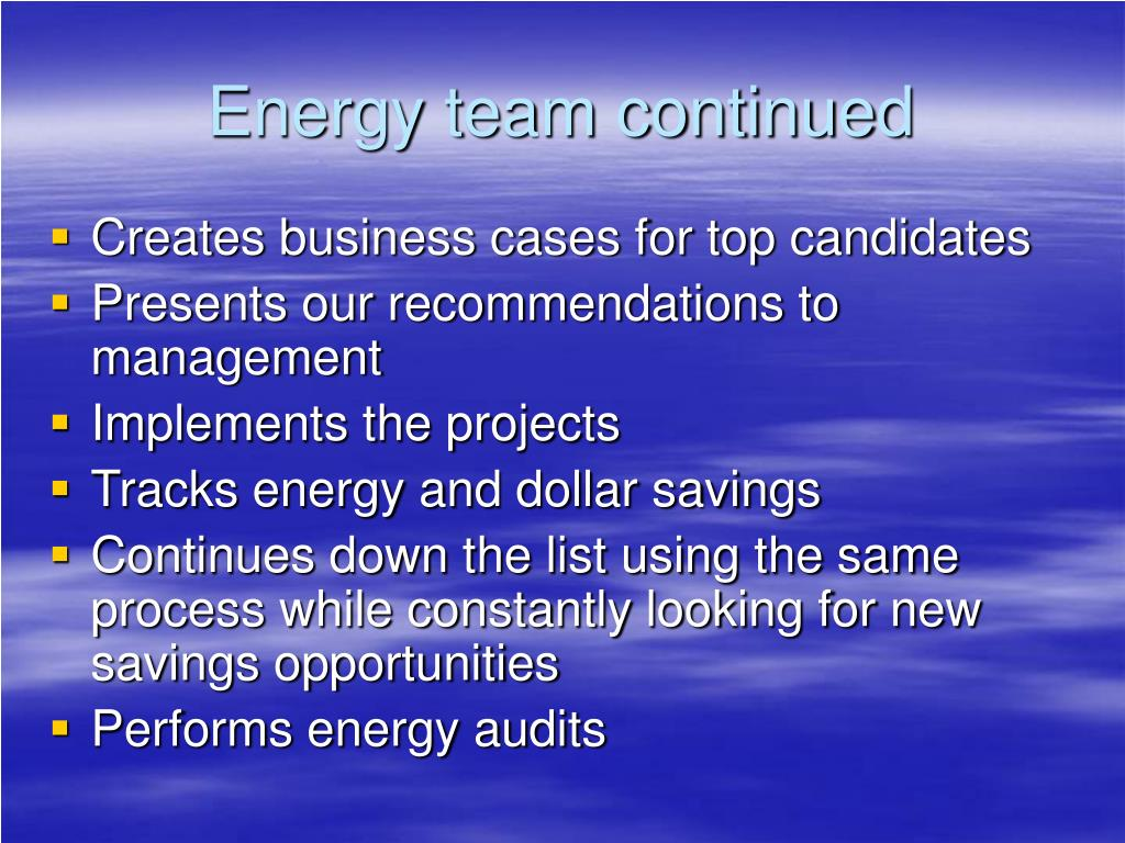 Energy team continued