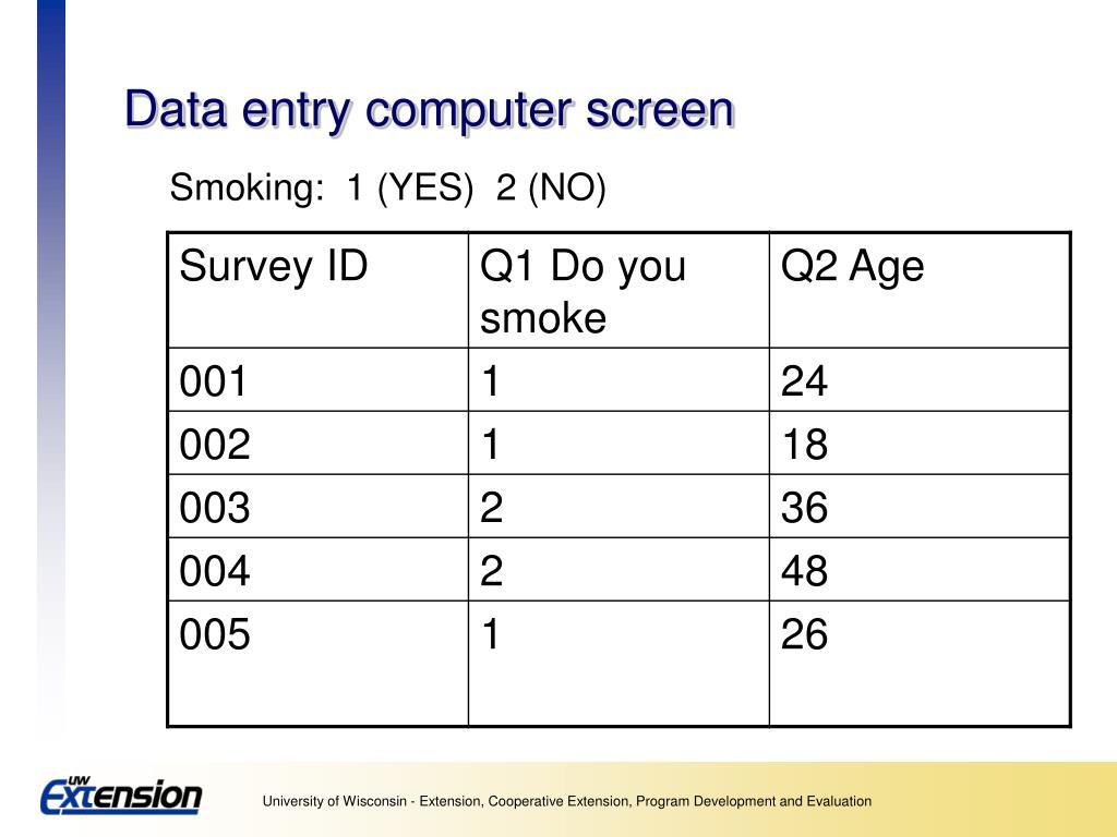 Data entry computer screen