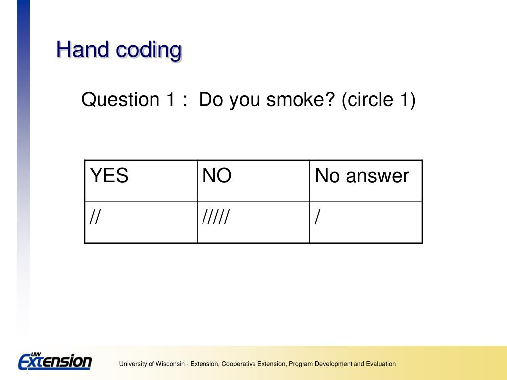 Hand coding