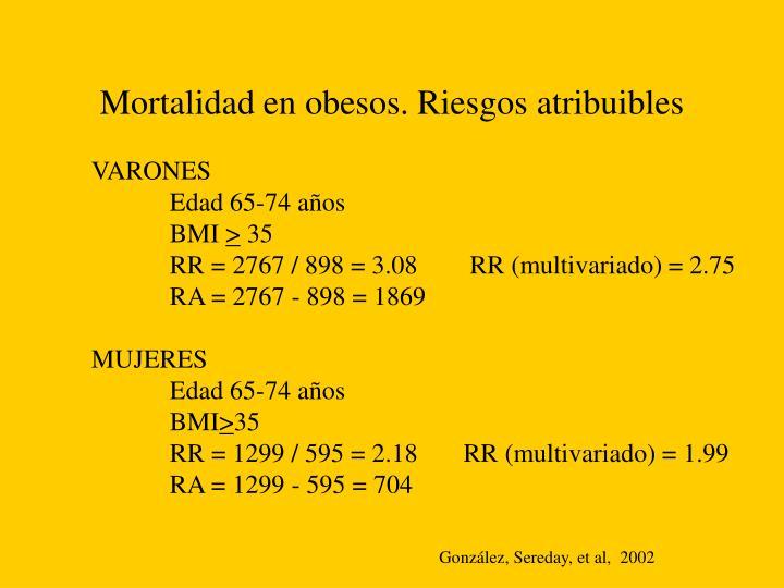 Mortalidad en obesos. Riesgos atribuibles