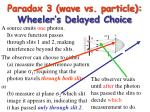 paradox 3 wave vs particle wheeler s delayed choice
