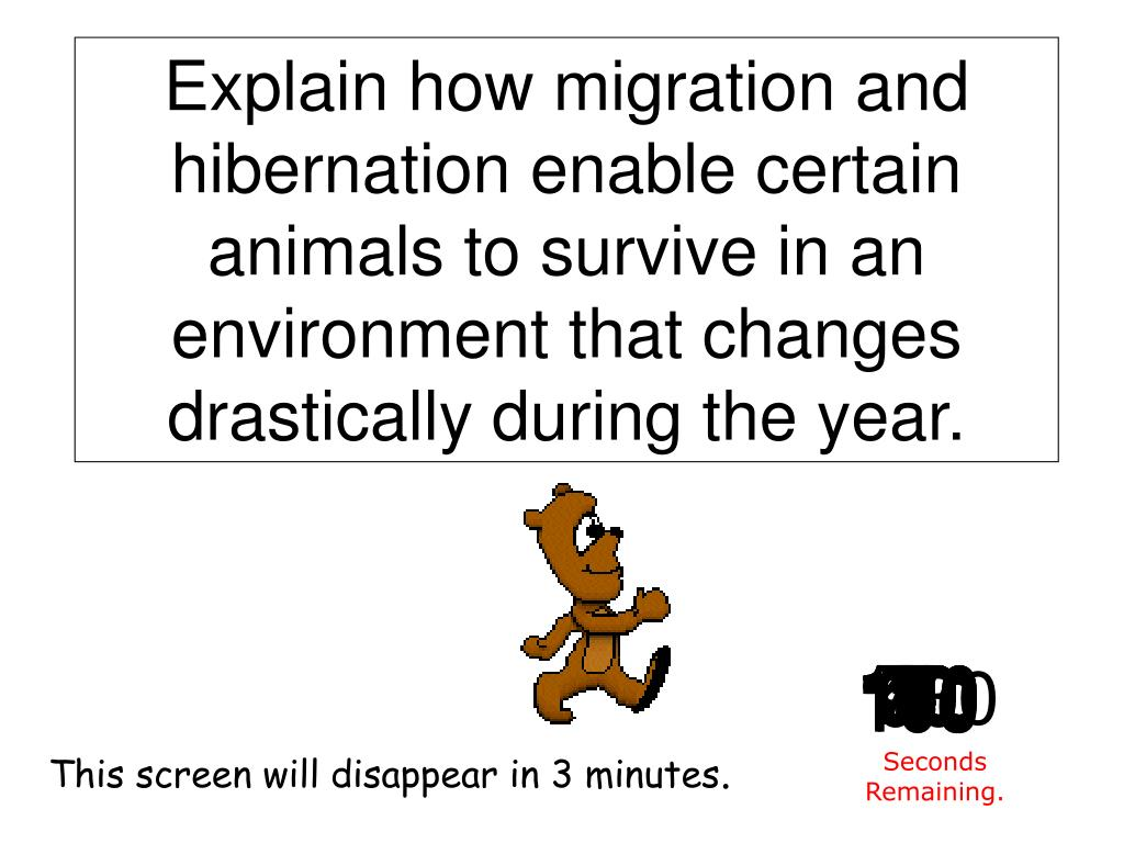 Explain how migration and hibernation enable certain animals to survive in an environment that changes drastically during the year.