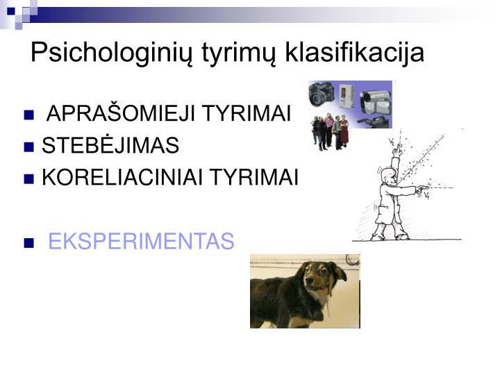 Psichologinių tyrimų klasifikacija