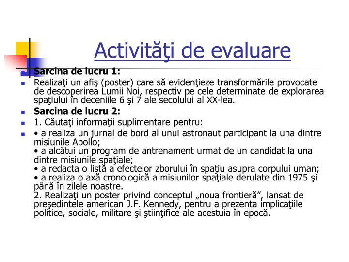 Activităţi de evaluare