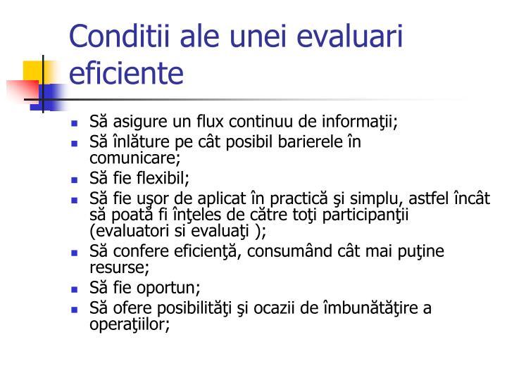 Conditii ale unei evaluari eficiente