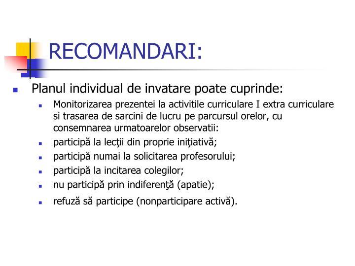 RECOMANDARI: