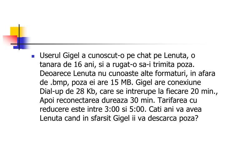 Userul Gigel a cunoscut-o pe chat pe Lenuta, o tanara de 16 ani, si a rugat-o sa-i trimita poza. Deoarece Lenuta nu cunoaste alte formaturi, in afara de .bmp, poza ei are 15 MB. Gigel are conexiune Dial-up de 28 Kb, care se intrerupe la fiecare 20 min., Apoi reconectarea dureaza 30 min. Tarifarea cu reducere este intre3:00si 5:00. Cati ani va avea Lenuta cand in sfarsit Gigel ii va descarca poza?