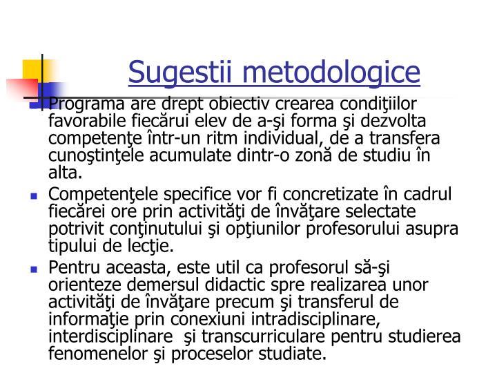 Sugestii metodologice