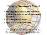 timothy swanson s model