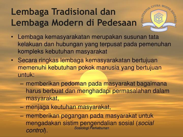 Lembaga Tradisional dan