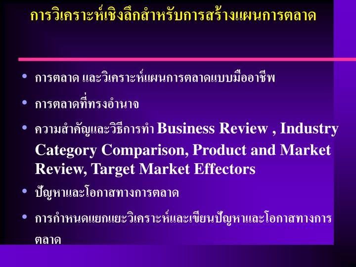 การวิเคราะห์เชิงลึกสำหรับการสร้างแผนการตลาด