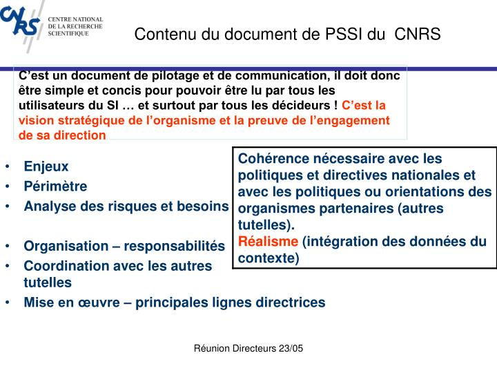 Contenu du document de PSSI du
