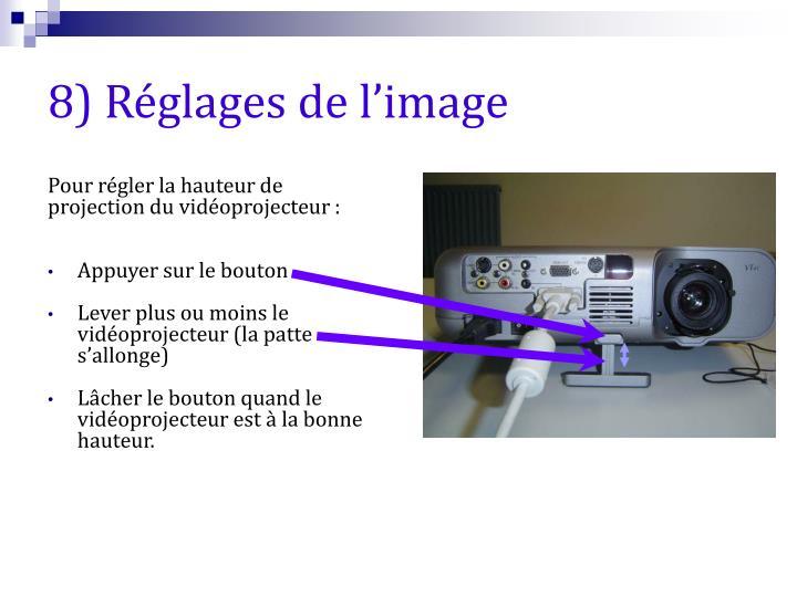 8) Réglages de l'image