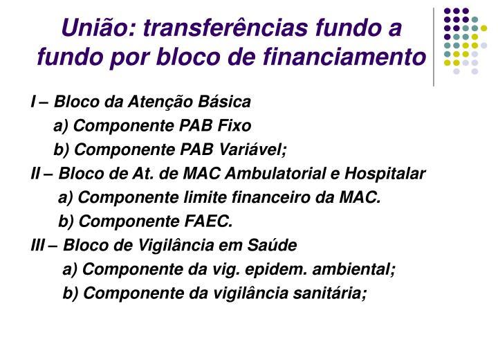 União: transferências fundo a fundo por bloco de financiamento
