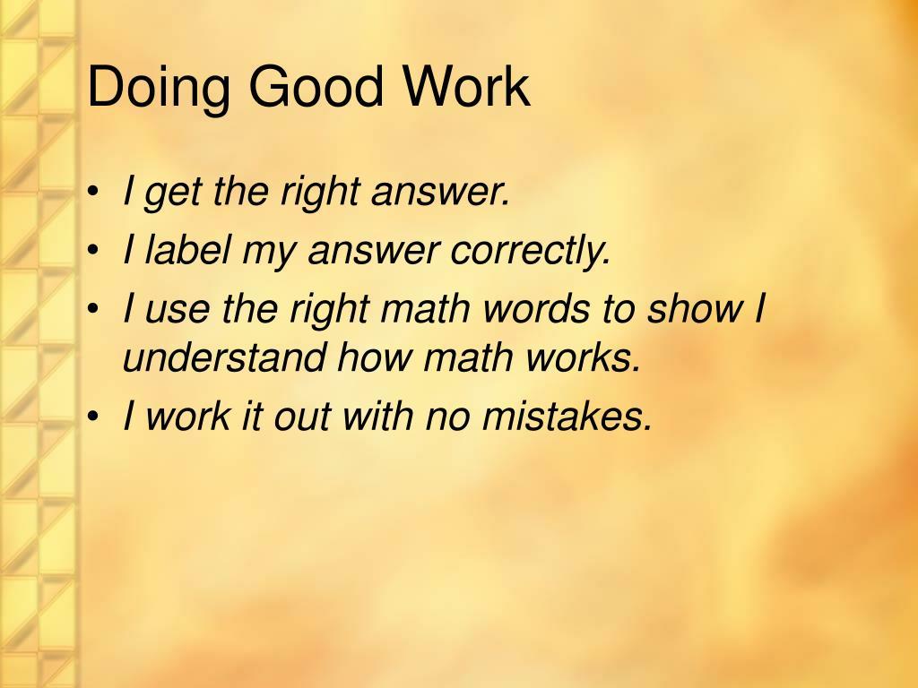 Doing Good Work
