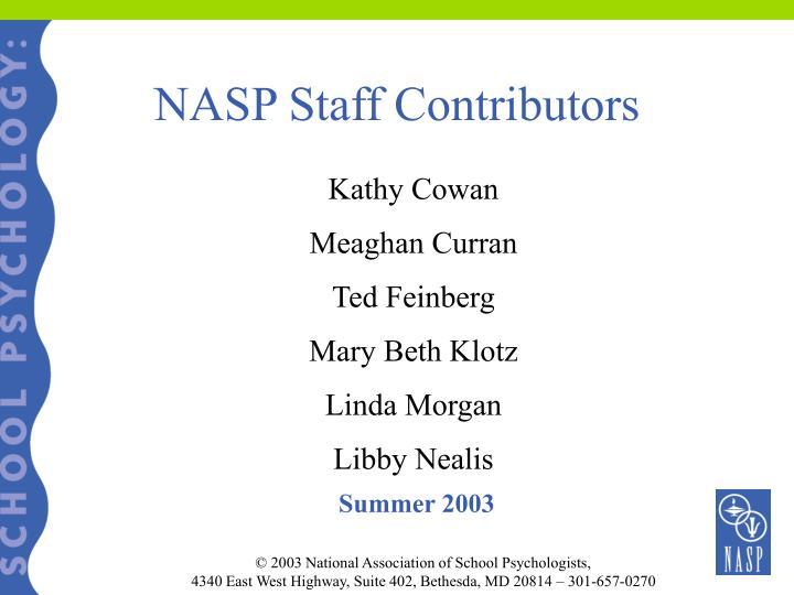 NASP Staff Contributors